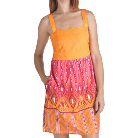 Columbia Sportswear Clear Coasts Dress - Cotton, Sleeveless (For Women) in Marmalade/Tiki Tok Border Prt