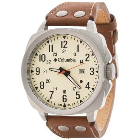 Columbia Sportswear Cornerstone Watch - Leather Band in Eggshell/Brown