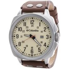 Columbia Sportswear Cornerstone Watch - Leather Band in Yellow/Silver/Brown - Closeouts