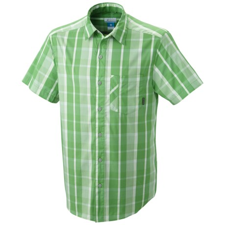 Columbia Sportswear Decoy Rock Shirt - Short Sleeve (For Tall Men) in Clean Green Check