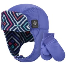 Columbia Sportswear Ear Flap Hat and Mitten Set (For Toddlers) in Purple Lotus - Closeouts