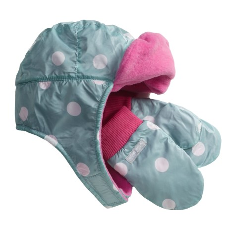 Columbia Sportswear Earflap Hat and Mitten Set (For Infants) in Aqua Haze Dot