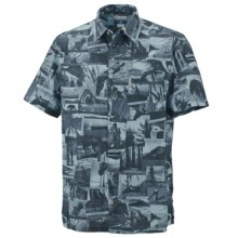 Columbia Sportswear False Peak Print Shirt - Short Sleeve (For Big and Tall Men) in Columbia Navy - Closeouts