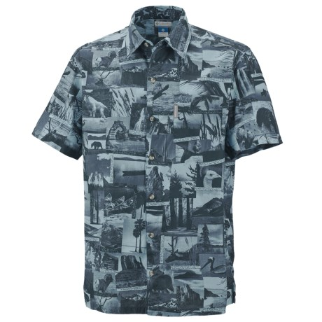 Columbia Sportswear False Peak Print Shirt - Short Sleeve (For Big and Tall Men) in Columbia Navy