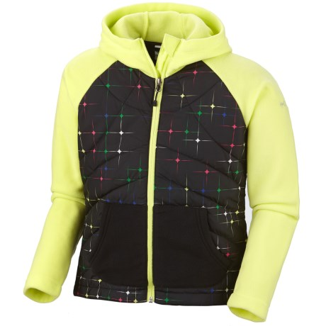 Columbia Sportswear Fast Trek Hybrid Jacket - Insulated, Fleece (For Girls) in Neon Light/Black Star Print