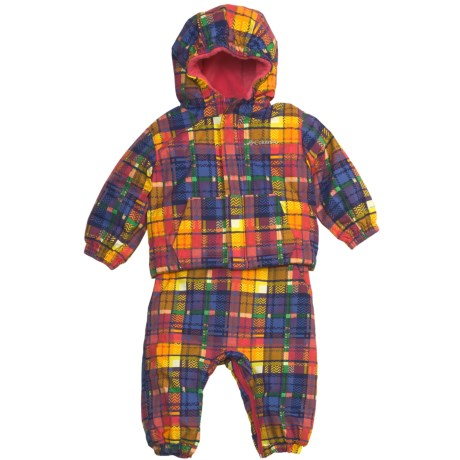 Columbia Sportswear First Snow Jacket and Bib Overalls Set (For Infants) in Afterglow Plaid