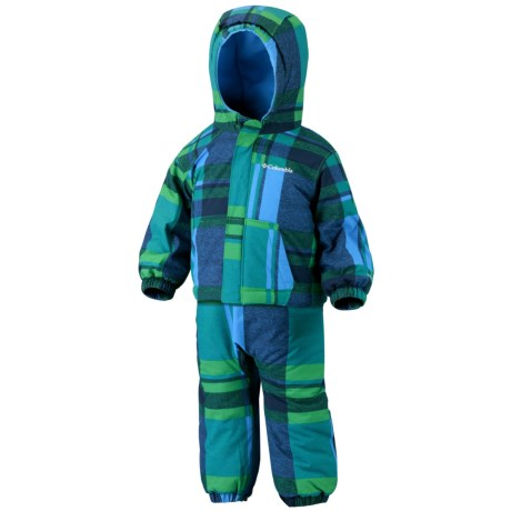 Columbia Sportswear First Snow Jacket and Bib Overalls Set (For Infants) in Fuse Green Blue Plaid