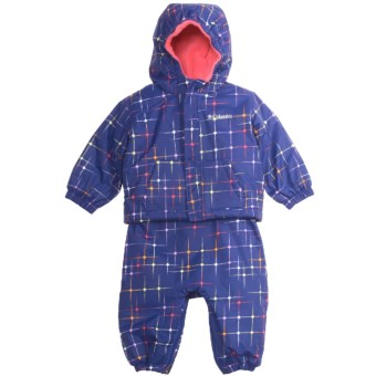Columbia Sportswear First Snow Jacket and Bib Overalls Set (For Infants) in Light Grape Star Print