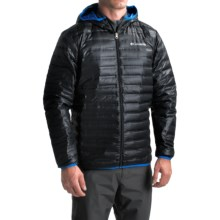 Columbia Sportswear Flash Forward Down Hooded Jacket - 650 Fill Power (For Men) in Black/Hyper Blue - Closeouts