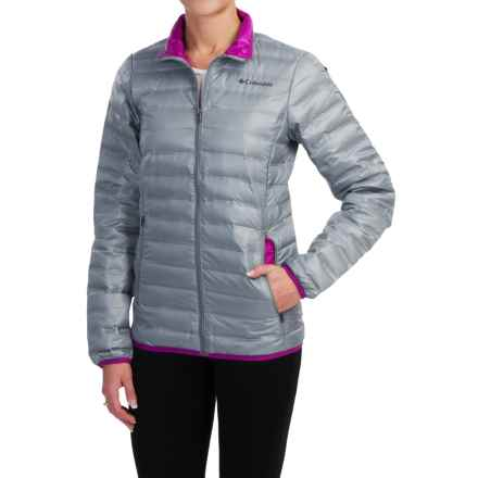 Columbia Sportswear Flash Forward Down Jacket - 650 Fill Power (For Women) in Tradewinds Grey/Bright Plum - Closeouts