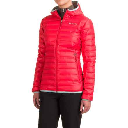 Columbia Sportswear Flash Forward Hooded Down Jacket - 650 Fill Power (For Women) in Red Camellia/Spray - Closeouts