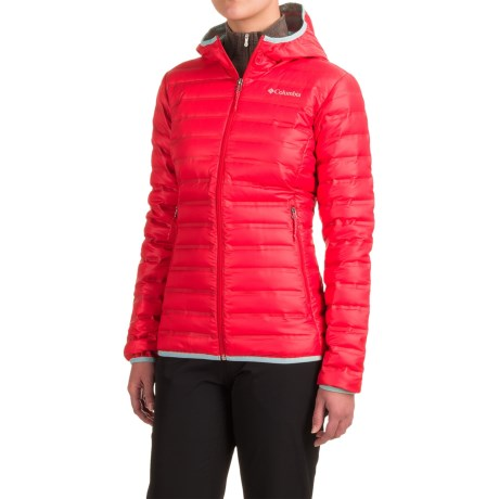 Columbia Sportswear Flash Forward Hooded Down Jacket - 650 Fill Power (For Women) in Red Camellia/Spray