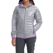 Columbia Sportswear Flash Forward Hooded Down Jacket - 650 Fill Power (For Women) in Tradewinds Grey/Bright Plum - Closeouts