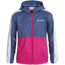 Columbia Sportswear Flash Forward Windbreaker Jacket (For Little and Big Girls) in Bluebell/Haute Pink - Closeouts