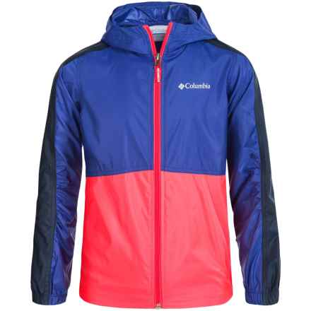Columbia Sportswear Flash Forward Windbreaker Jacket (For Little and Big Girls) in Light Grape/Laser Red - Closeouts