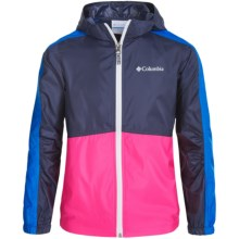 Columbia Sportswear Flash Forward Windbreaker Jacket (For Little and Big Girls) in Nocturnal/Pink Glo - Closeouts