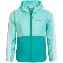 Columbia Sportswear Flash Forward Windbreaker Jacket (For Little and Big Girls) in Ocean Water/Miami - Closeouts