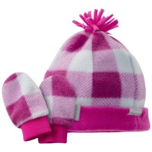 Columbia Sportswear Frosty Fleece Beanie Hat and Mitten Set (For Infants) in Groovy Pink/Plaid - Closeouts