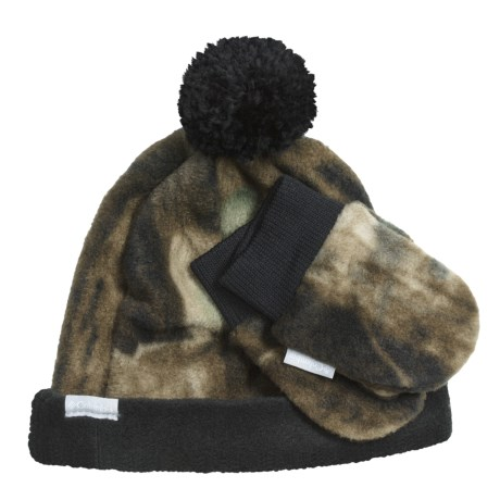Columbia Sportswear Frosty Fleece II Beanie Hat and Mittens Set (For Kids) in Timberwolf Camo