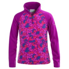 Columbia Sportswear Glacial II Fleece Pullover Sweater - Zip Neck (For Little and Big Girls) in Bright Plum, Floral - Closeouts