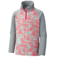 Columbia Sportswear Glacial II Fleece Pullover Sweater - Zip Neck (For Little and Big Girls) in Earl Grey Floral, Earl Grey - Closeouts
