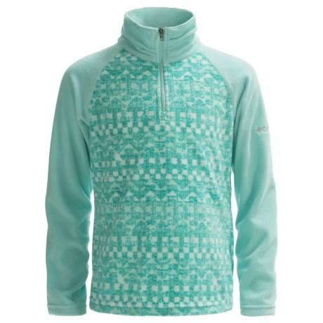 Columbia Sportswear Glacial II Fleece Sweater - Zip Neck (For Big Girls) in Spray/Miami Fairisle