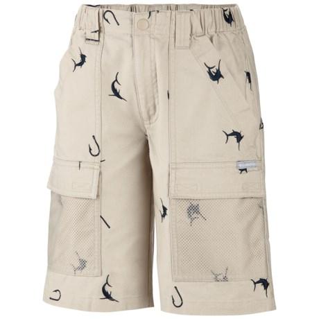 Columbia Sportswear Half Moon PFG Shorts (For Boys) in Fossil/Collegiate Navy