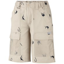 Columbia Sportswear Half Moon PFG Shorts (For Toddler Boys) in Fossil/Collegiate Navy - Closeouts
