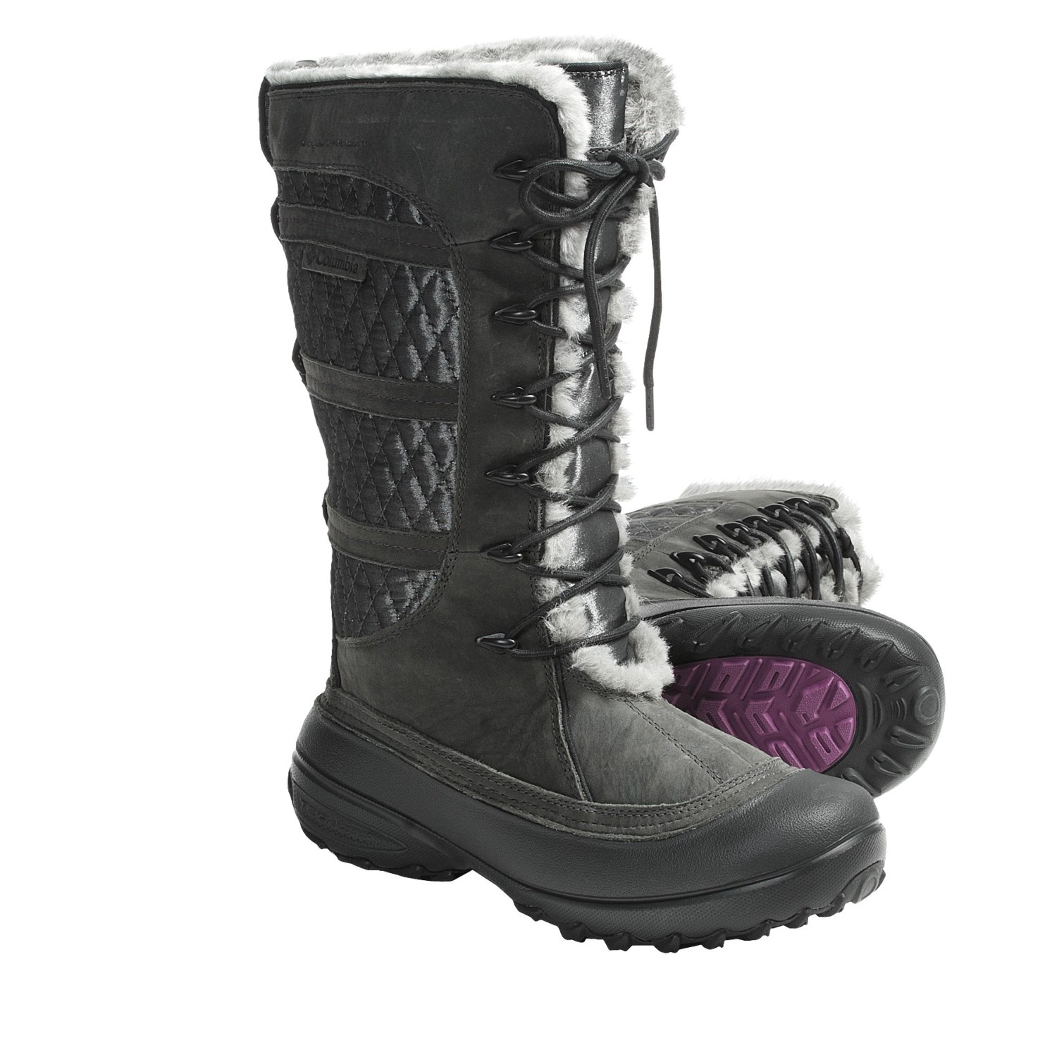 Elegant   Boots  Womens Black Nevada Snow Ski Yeti Fur Moon Flat Boots