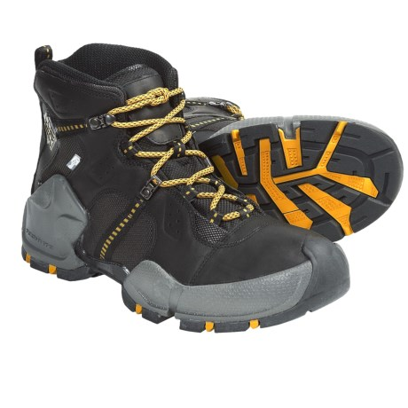 Columbia Sportswear Hells Peak Omni-Heat® Hiking Boots - Waterproof (For Men) in Black/Spectra Yellow
