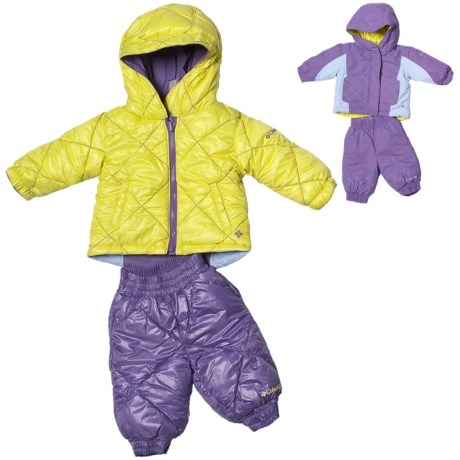 Columbia Sportswear Jane Frosty Jacket and Snow Pants - Insulated, Reversible (For Infant Girls) in Pink Taffy/Aqua Haze Print