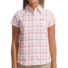 Columbia Sportswear Kestrel Ridge Plaid Shirt - UPF 50, Short Sleeve (For Women) in Hot Coral Dobby Plaid - Closeouts