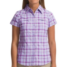 Columbia Sportswear Kestrel Ridge Plaid Shirt - UPF 50, Short Sleeve (For Women) in Whitened Violet Dobby Plaid - Closeouts