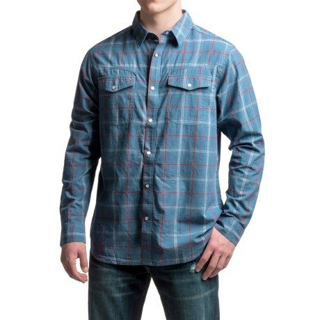 Columbia Sportswear Leadville Range Shirt - Snap Front, Long Sleeve (For Men) in Night Tide Square Plaid