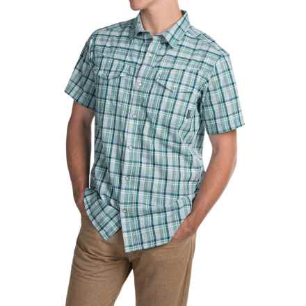 Columbia Sportswear Leadville Ridge Shirt - Snap Front, Short Sleeve (For Men) in Dark Turquoise Plaid - Closeouts