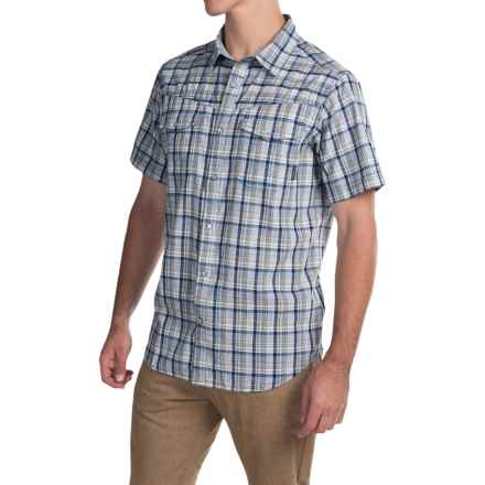 Columbia Sportswear Leadville Ridge Shirt - Snap Front, Short Sleeve (For Men) in Night Tide Plaid - Closeouts