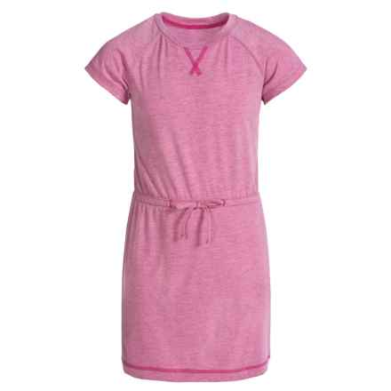 Columbia Sportswear Little Woods Dress - Short Sleeve (For Big Girls) in Haute Pink Heather - Closeouts