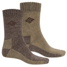 Columbia Sportswear Marled Thermal Socks - 2-Pack, Crew (For Kids) in Brown/Khaki - Closeouts