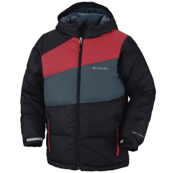 Columbia Sportswear Mash Up Puffer Down Jacket - 450 Fill Power (For Boys) in Black/Bright Red/Mystery