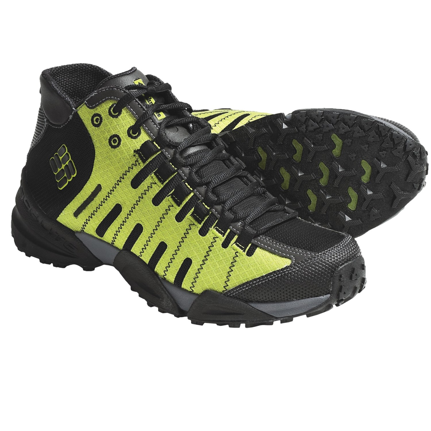 of Faster Mid Trail Shoes - Waterproof (For Men) in Black/Lime Green