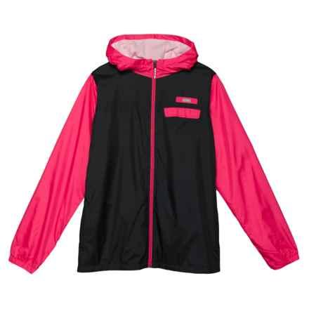 Columbia Sportswear Mountain Side Lined Windbreaker (For Little and Big Kids) in Shark, Punch Pink
