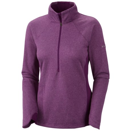 Columbia Sportswear Optic Got It Stripe Pullover - Zip Neck, Fleece, Long Sleeve (For Women) in Red Hibiscus