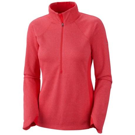 Columbia Sportswear Optic Got It Stripe Pullover - Zip Neck, Fleece, Long Sleeve (For Women) in Red Hibiscus