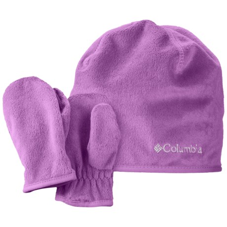 Columbia Sportswear Pearl Plush Hat and Mitten Set (For Toddlers) in Blossom Pink
