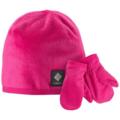 Columbia Sportswear Pearl Plush Hat and Mitten Set (For Toddlers) in Bright Rose