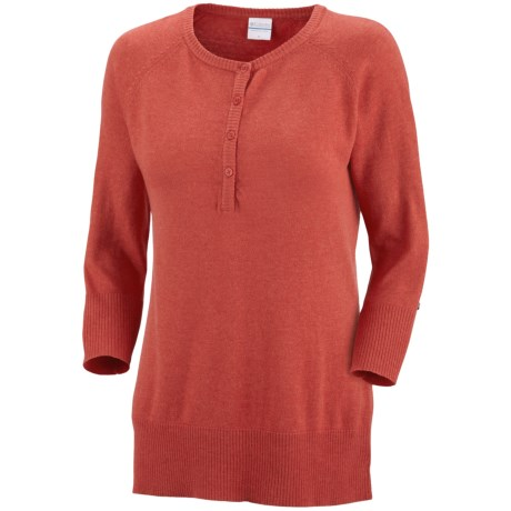 Columbia Sportswear Perfect Layer Heathered Sweater - Henley (For Women) in Burnt Henna Heather