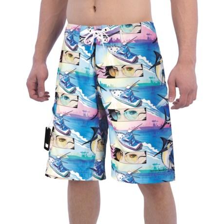Columbia Sportswear PFG Offshore Teaser Action Boardshorts - UPF 30 (For Men) in White Cap, Miami Marlin