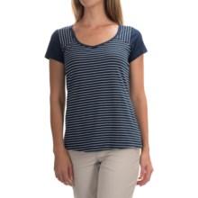 Columbia Sportswear PFG Reel Beauty IV Shirt - Omni-Wick®, Short Sleeve (For Women) in Collegiate Navy Mini Stripe - Closeouts