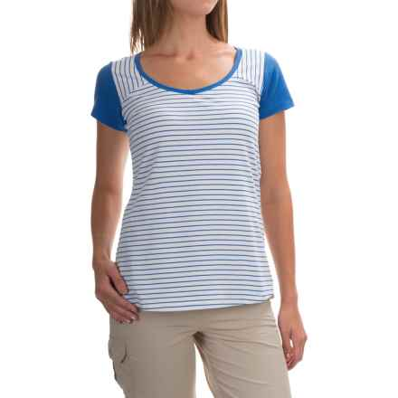 Columbia Sportswear PFG Reel Beauty IV Shirt - Omni-Wick®, Short Sleeve (For Women) in Stormy Blue Mini Stripe - Closeouts