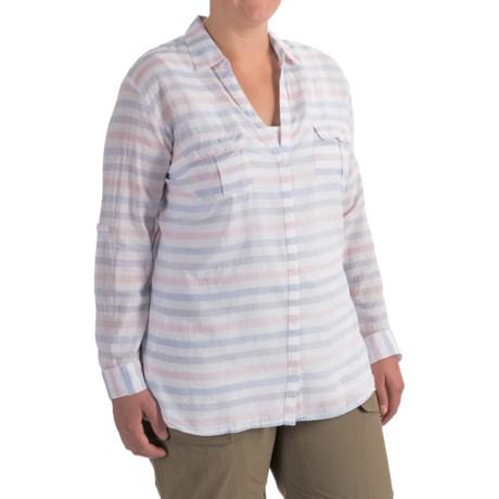 Columbia Sportswear PFG Sun Drifter Shirt - Long Sleeve (For Plus Size Women) in Harbor Blue Stripe